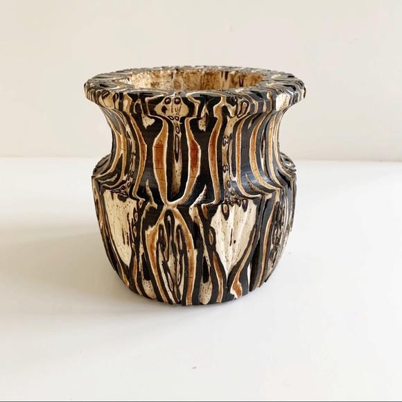 Vintage New Zealand Ponga Tree Fern Wood Vase